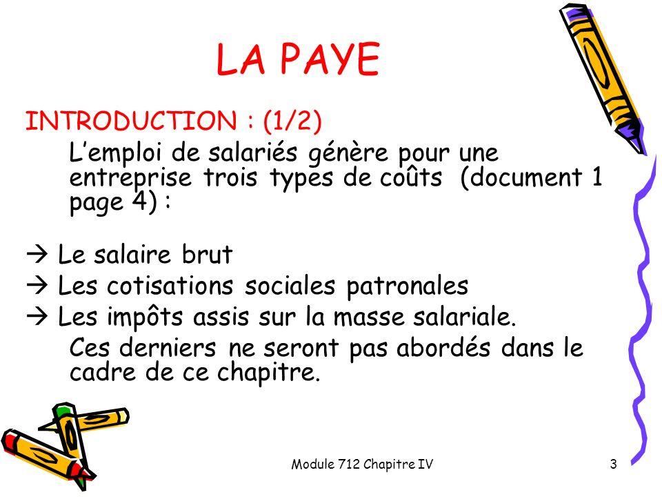 LA PAYE INTRODUCTION : (1/2)