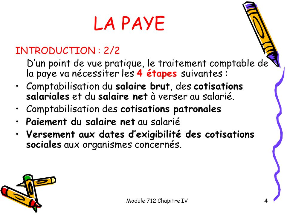 LA PAYE INTRODUCTION : 2/2