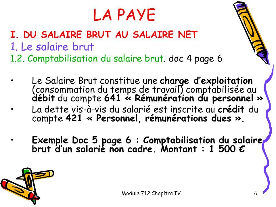 LA PAYE 1. Le salaire brut I. DU SALAIRE BRUT AU SALAIRE NET