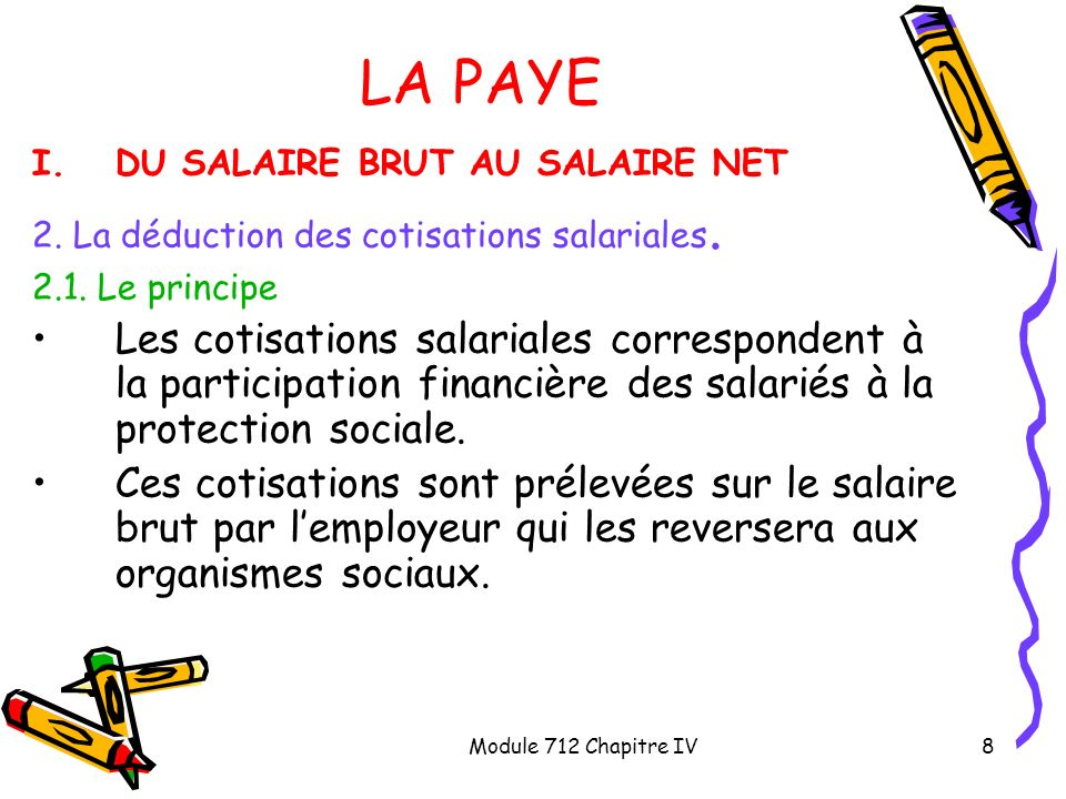 LA PAYE DU SALAIRE BRUT AU SALAIRE NET. 2. La déduction des cotisations salariales. 2.1. Le principe.
