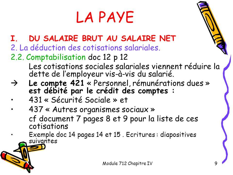 LA PAYE DU SALAIRE BRUT AU SALAIRE NET