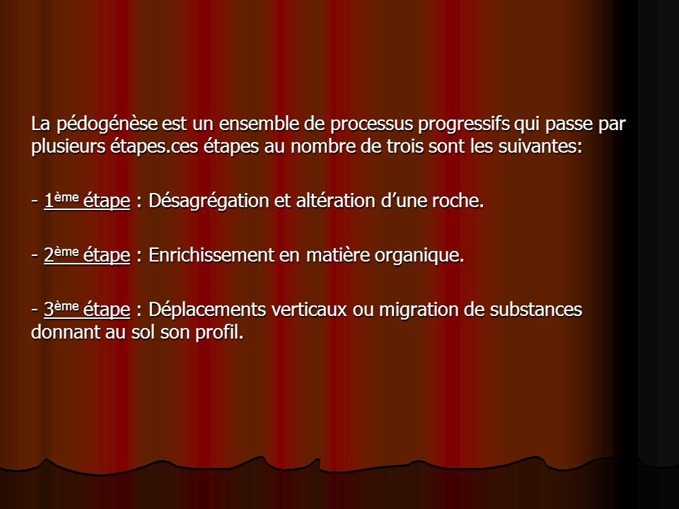 La pédogénèse est un ensemble de processus progressifs qui passe par plusieurs étapes.ces étapes au nombre de trois sont les suivantes: