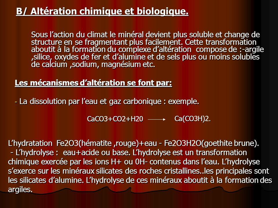 B/ Altération chimique et biologique.