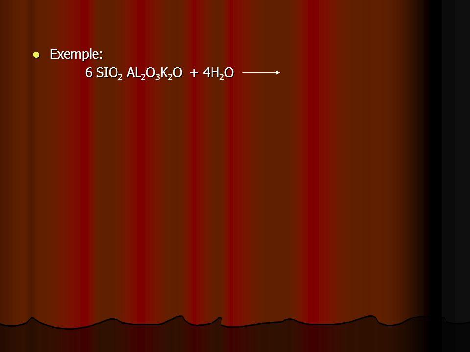 Exemple: 6 SIO2 AL2O3K2O + 4H2O