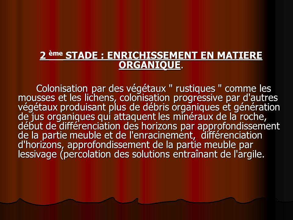2 ème STADE : ENRICHISSEMENT EN MATIERE ORGANIQUE.