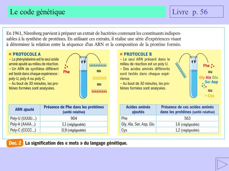Le code génétique Livre p. 56