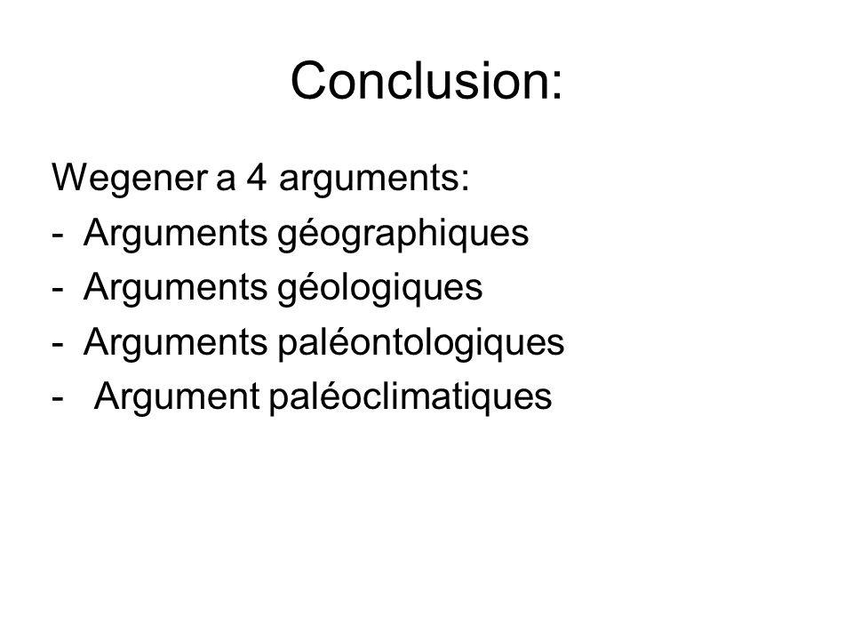 Conclusion: Wegener a 4 arguments: Arguments géographiques