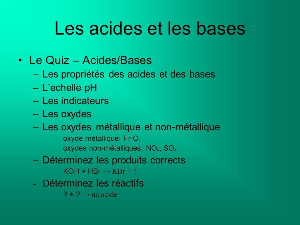Les acides et les bases Le Quiz – Acides/Bases