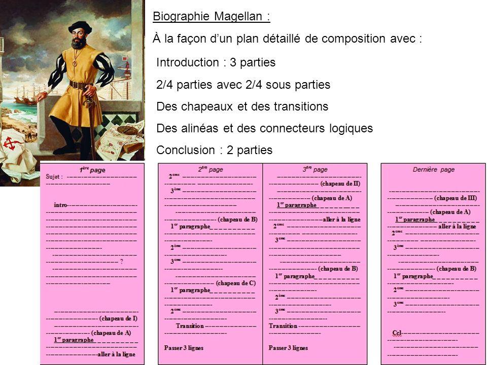 Biographie Magellan : À la façon d'un plan détaillé de composition avec : Introduction : 3 parties.