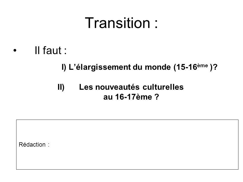 Les nouveautés culturelles au 16-17ème