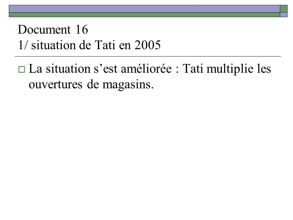 Document 16 1/ situation de Tati en 2005