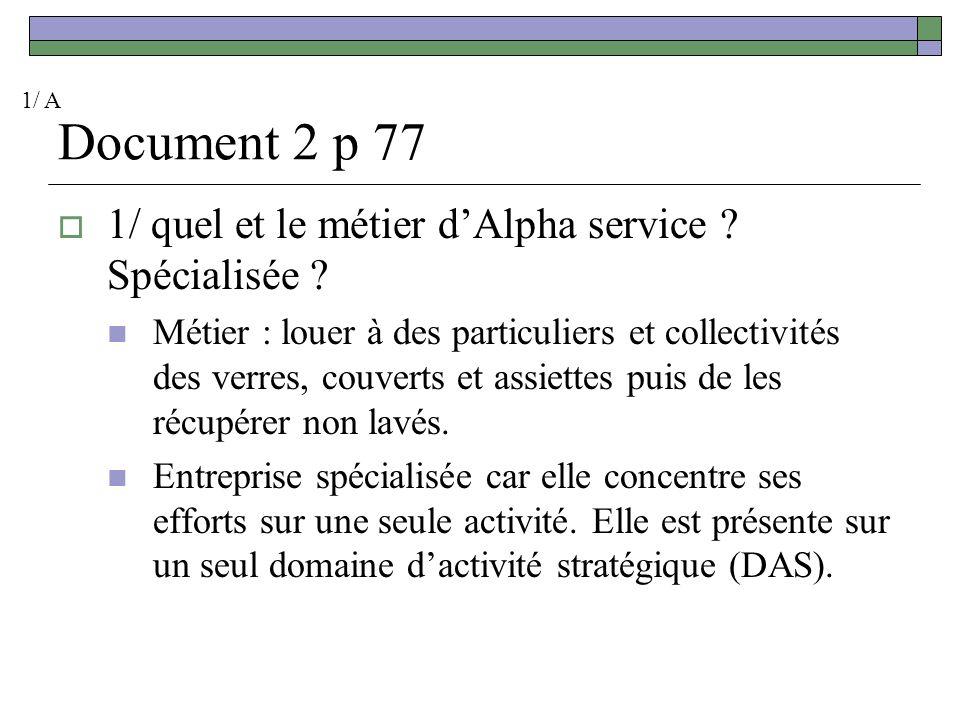 Document 2 p 77 1/ quel et le métier d'Alpha service Spécialisée