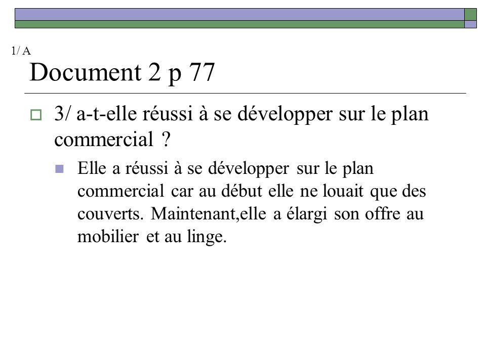 1/ A Document 2 p 77. 3/ a-t-elle réussi à se développer sur le plan commercial