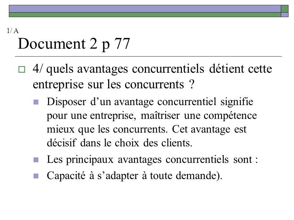 1/ A Document 2 p 77. 4/ quels avantages concurrentiels détient cette entreprise sur les concurrents