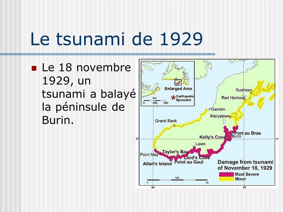 Le tsunami de 1929 Le 18 novembre 1929, un tsunami a balayé la péninsule de Burin.