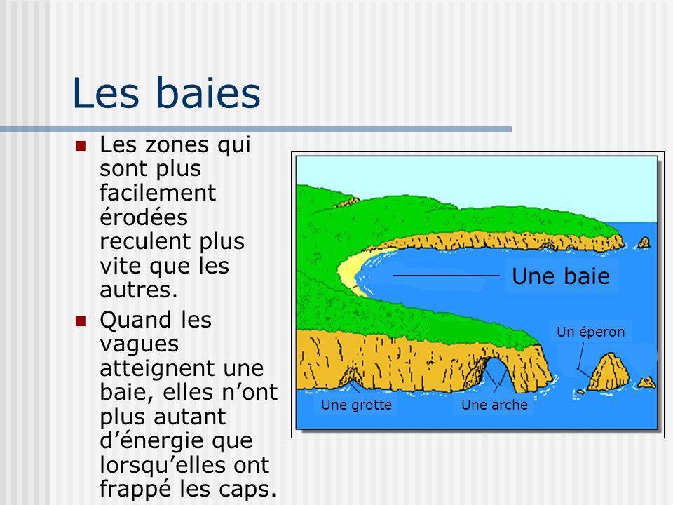 Les baies Les zones qui sont plus facilement érodées reculent plus vite que les autres.