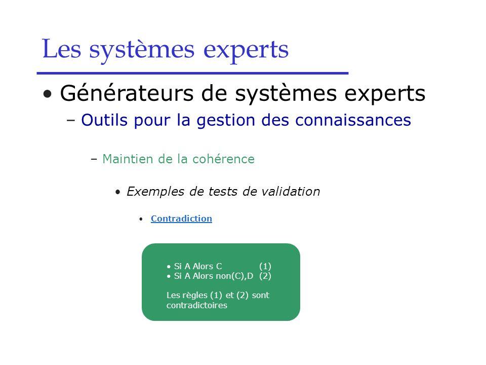 Les systèmes experts Générateurs de systèmes experts