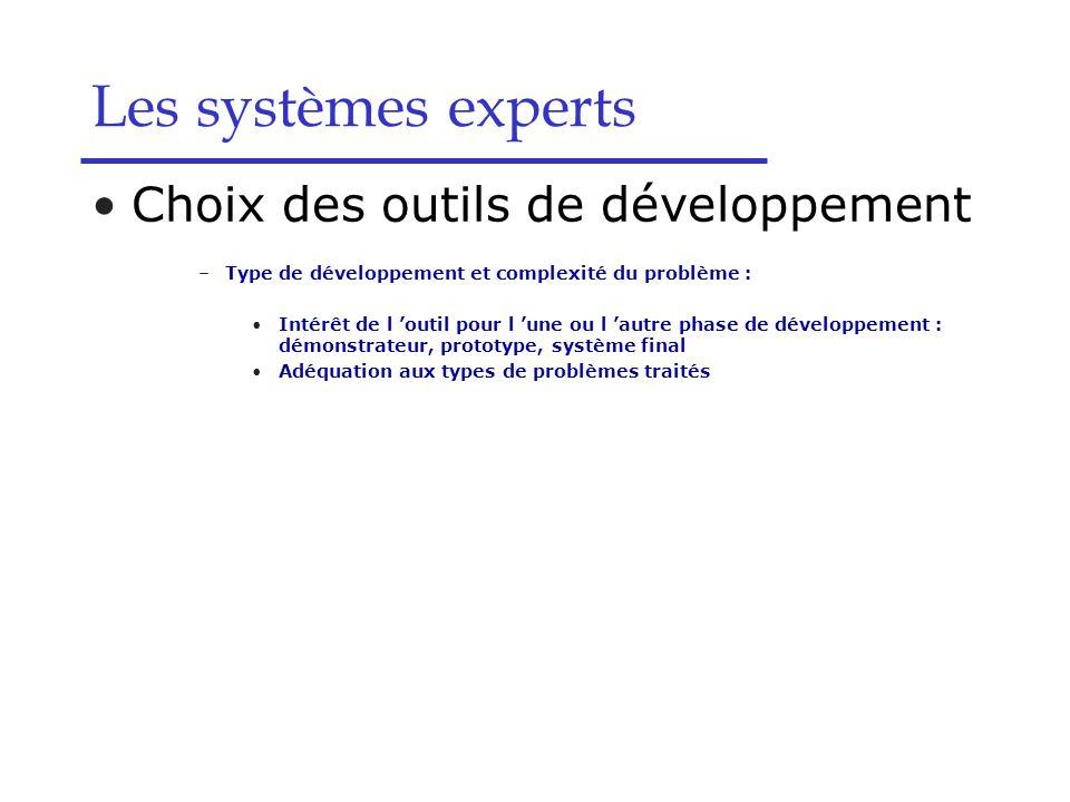 Les systèmes experts Choix des outils de développement
