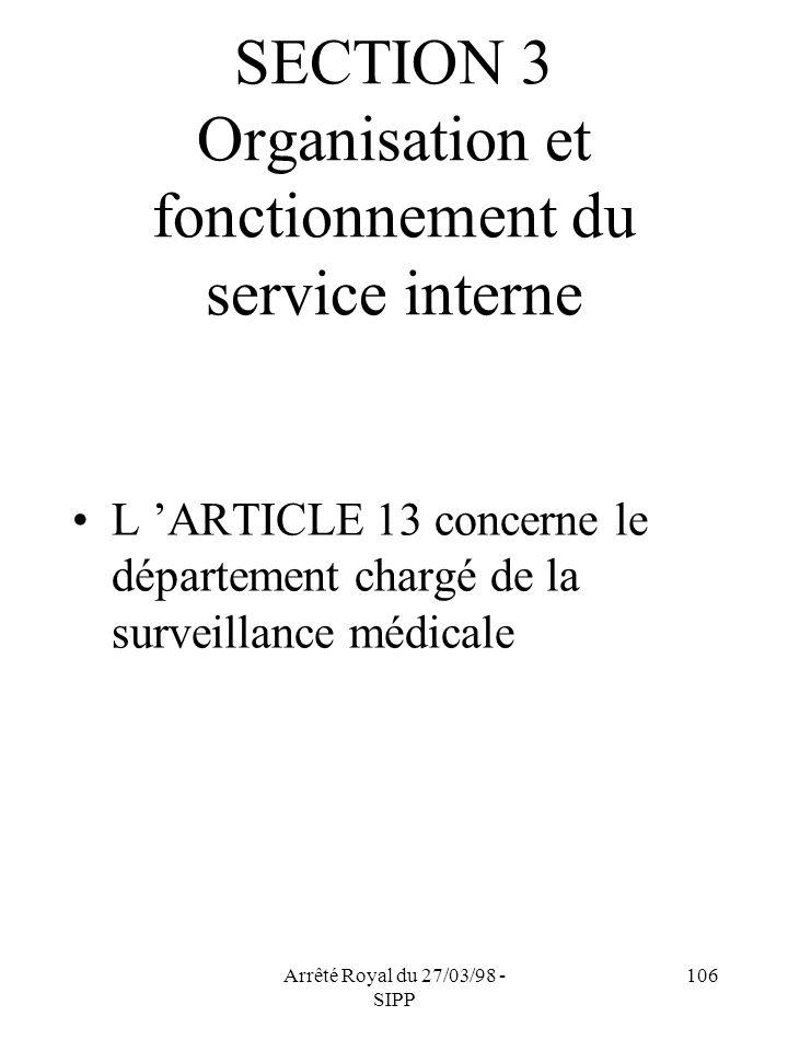 SECTION 3 Organisation et fonctionnement du service interne