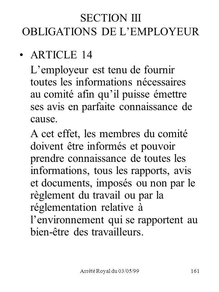 SECTION III OBLIGATIONS DE L'EMPLOYEUR