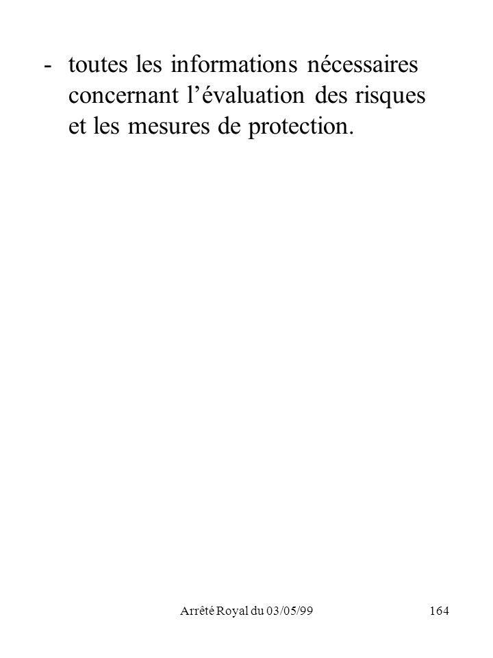 toutes les informations nécessaires concernant l'évaluation des risques et les mesures de protection.