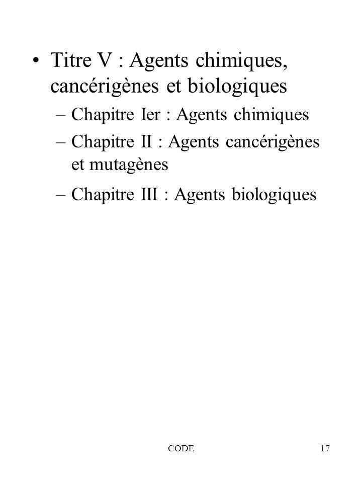 Titre V : Agents chimiques, cancérigènes et biologiques