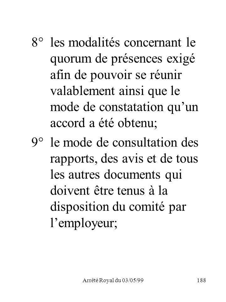 8°. les modalités concernant le. quorum de présences exigé