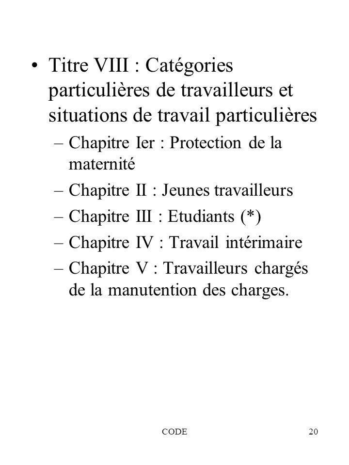 Titre VIII : Catégories particulières de travailleurs et situations de travail particulières