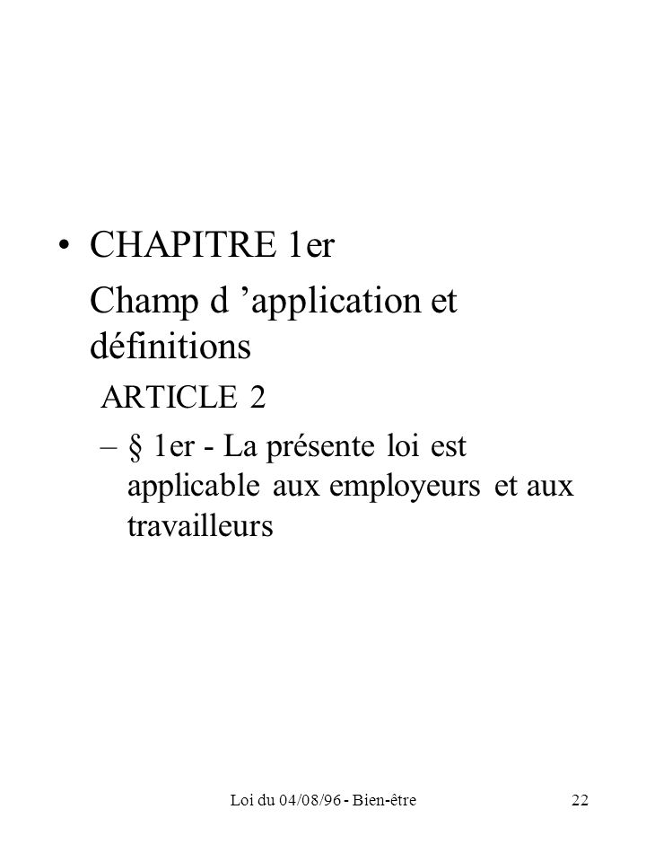 Champ d 'application et définitions