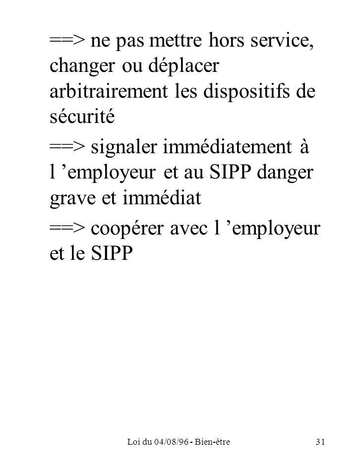 ==> coopérer avec l 'employeur et le SIPP
