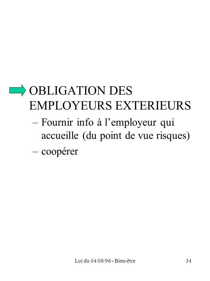 OBLIGATION DES EMPLOYEURS EXTERIEURS