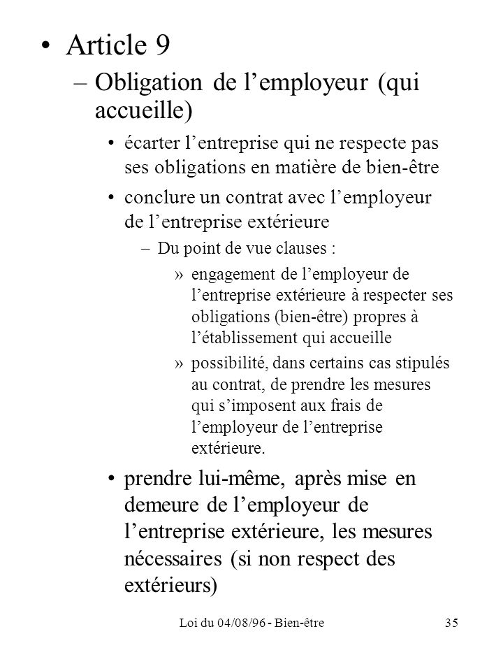 Article 9 Obligation de l'employeur (qui accueille)