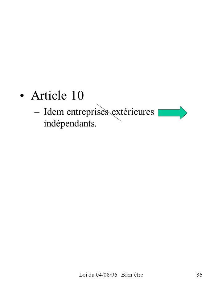 Article 10 Idem entreprises extérieures indépendants.