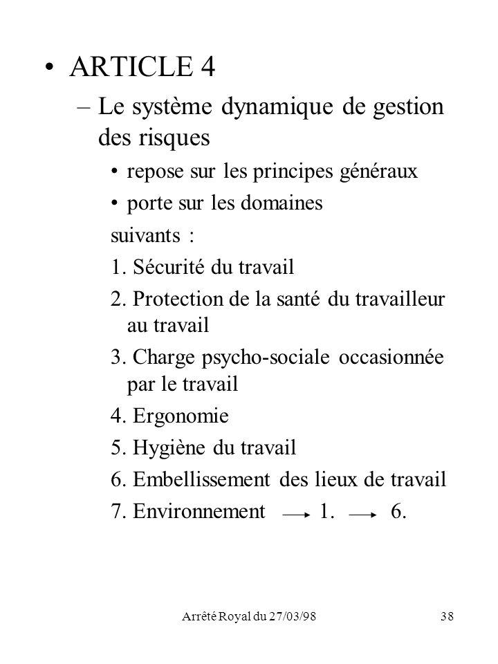 ARTICLE 4 Le système dynamique de gestion des risques