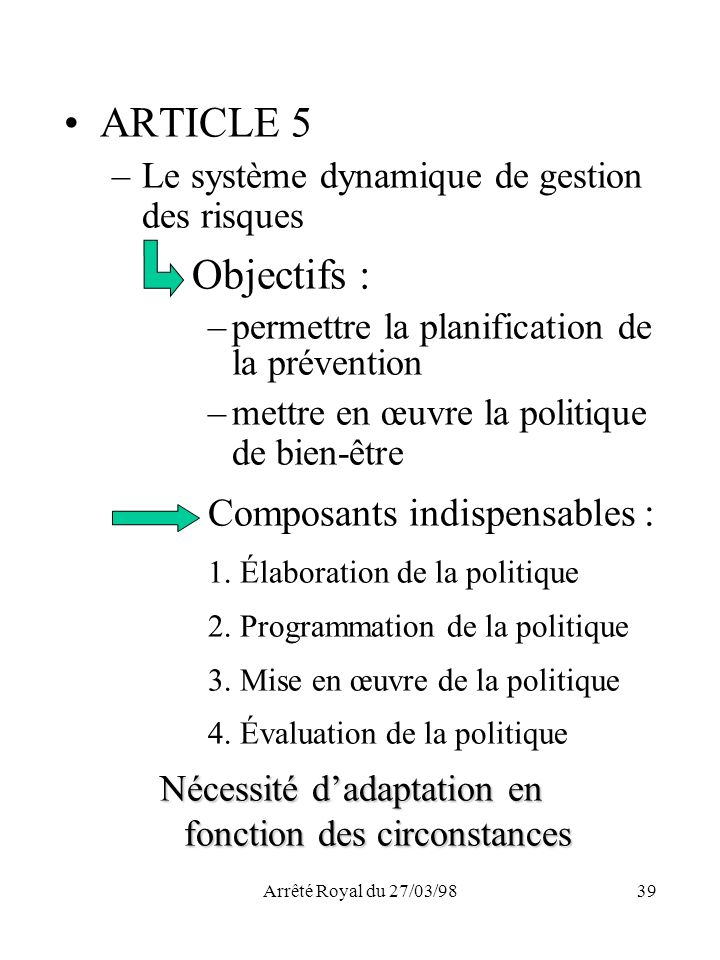 ARTICLE 5 Composants indispensables :