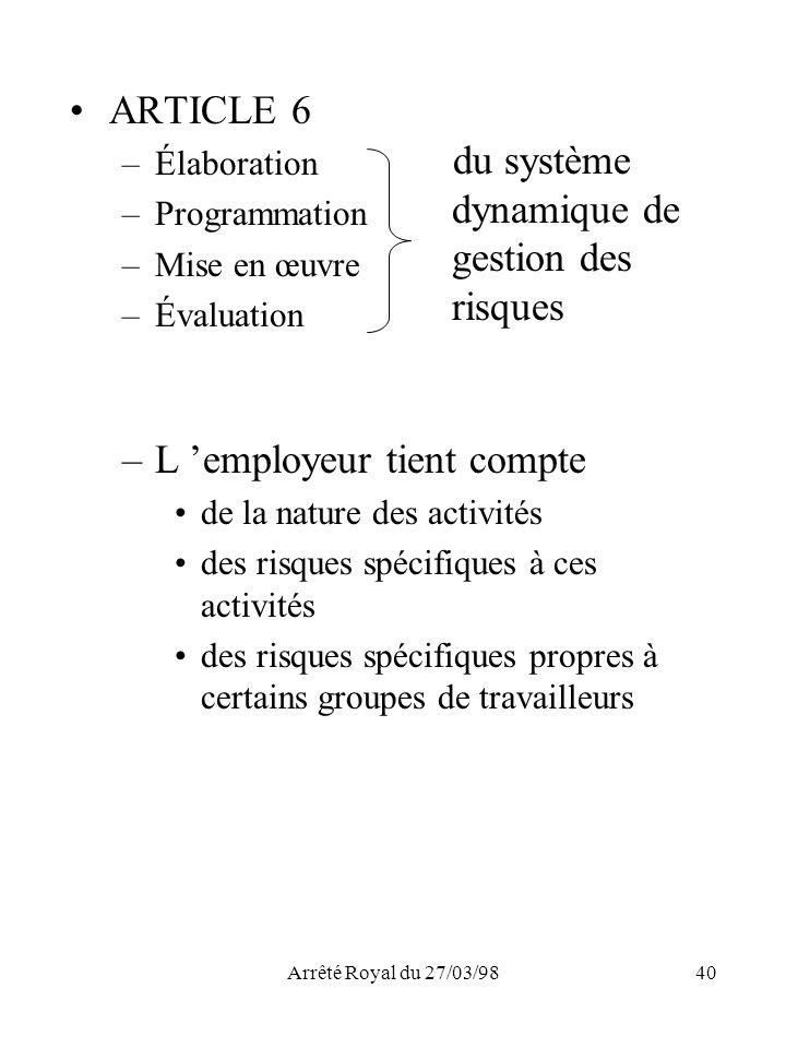 du système dynamique de gestion des risques ARTICLE 6