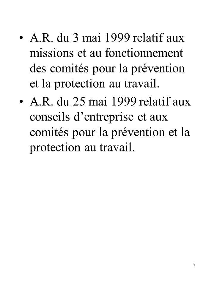 A.R. du 3 mai 1999 relatif aux missions et au fonctionnement des comités pour la prévention et la protection au travail.