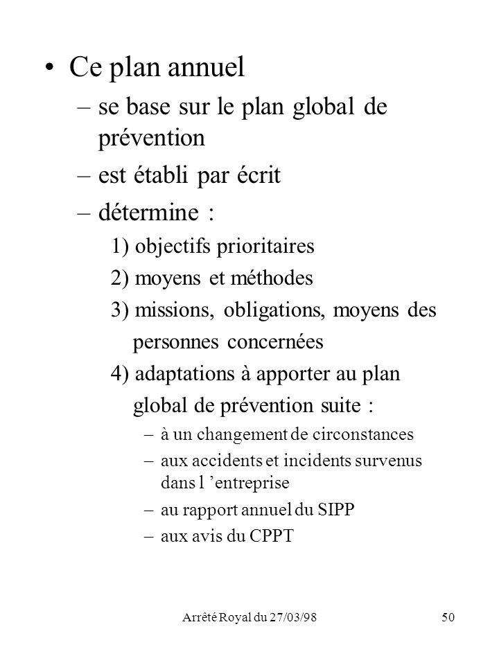 Ce plan annuel se base sur le plan global de prévention