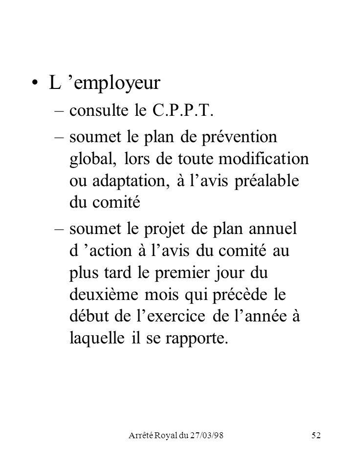 L 'employeur consulte le C.P.P.T.