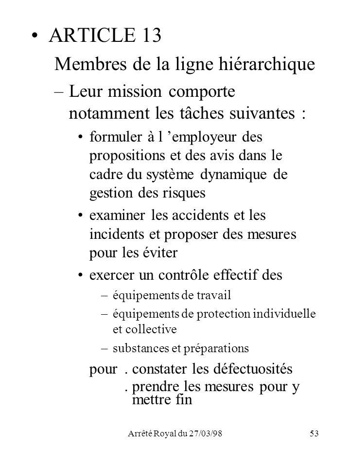 ARTICLE 13 Membres de la ligne hiérarchique