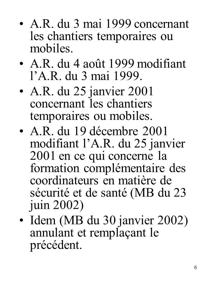 A.R. du 3 mai 1999 concernant les chantiers temporaires ou mobiles.