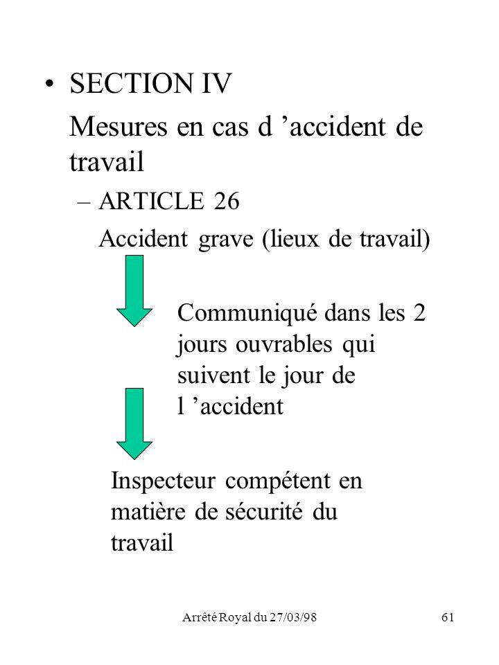 Mesures en cas d 'accident de travail