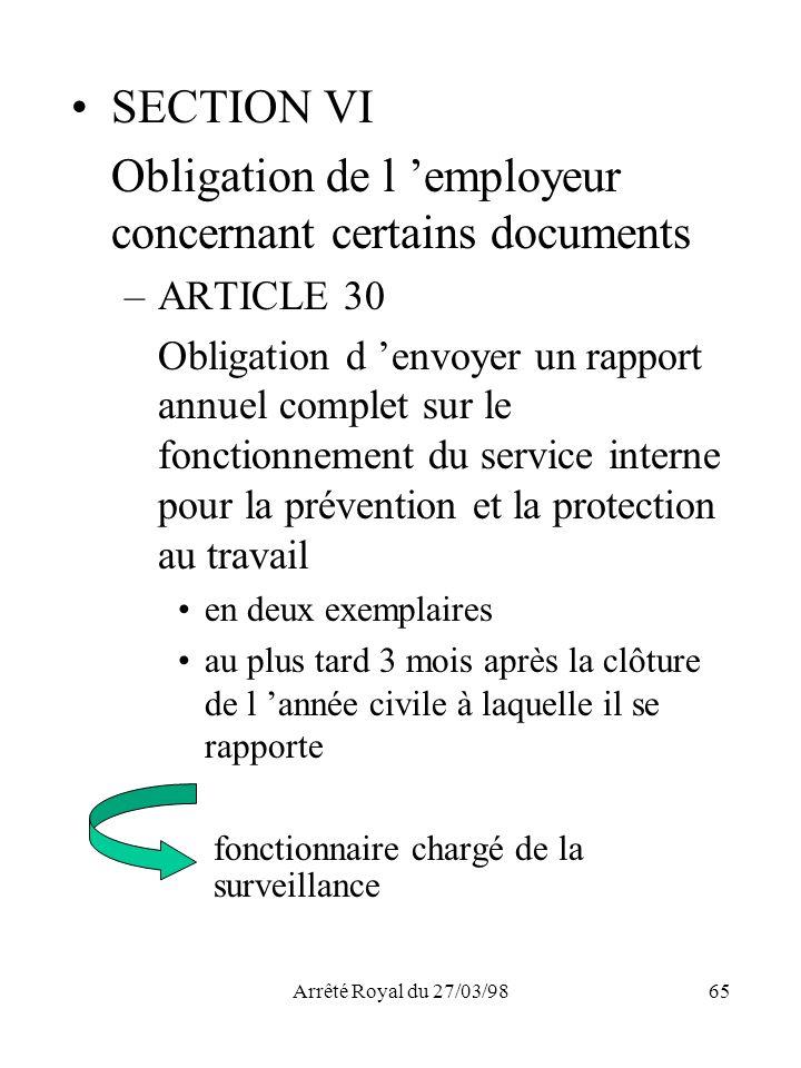 Obligation de l 'employeur concernant certains documents
