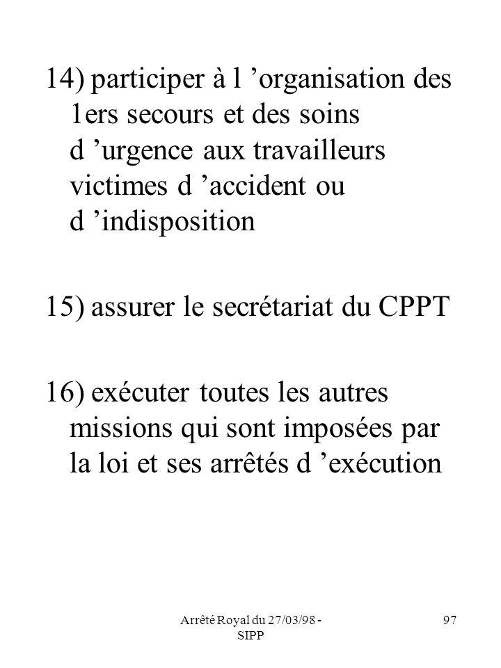 Arrêté Royal du 27/03/98 - SIPP