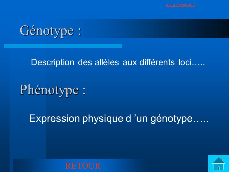 Génotype : Phénotype : Expression physique d 'un génotype…..
