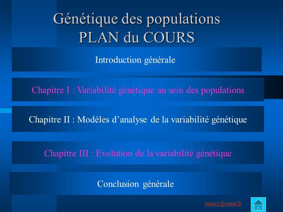 Génétique des populations PLAN du COURS
