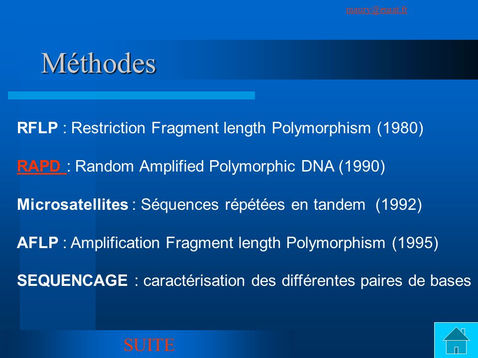 Méthodes SUITE RFLP : Restriction Fragment length Polymorphism (1980)