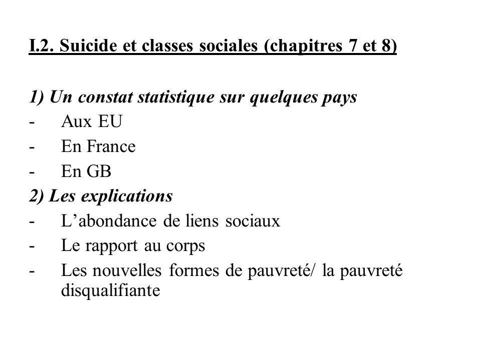 I.2. Suicide et classes sociales (chapitres 7 et 8)
