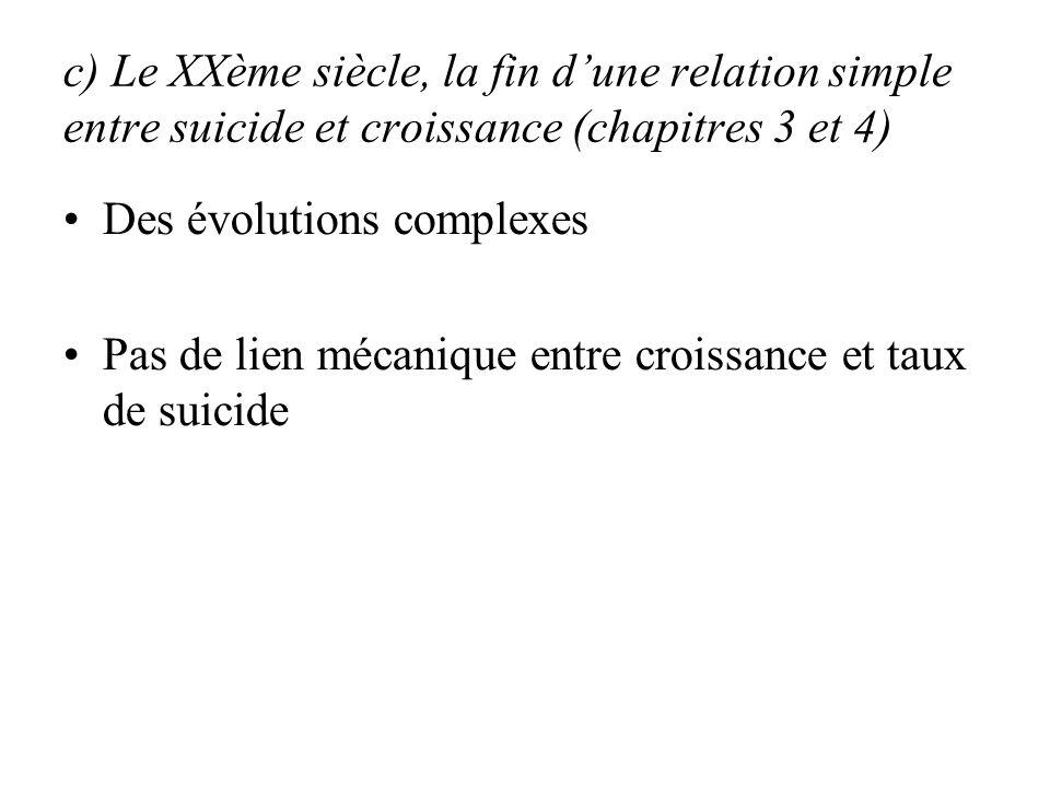 c) Le XXème siècle, la fin d'une relation simple entre suicide et croissance (chapitres 3 et 4)