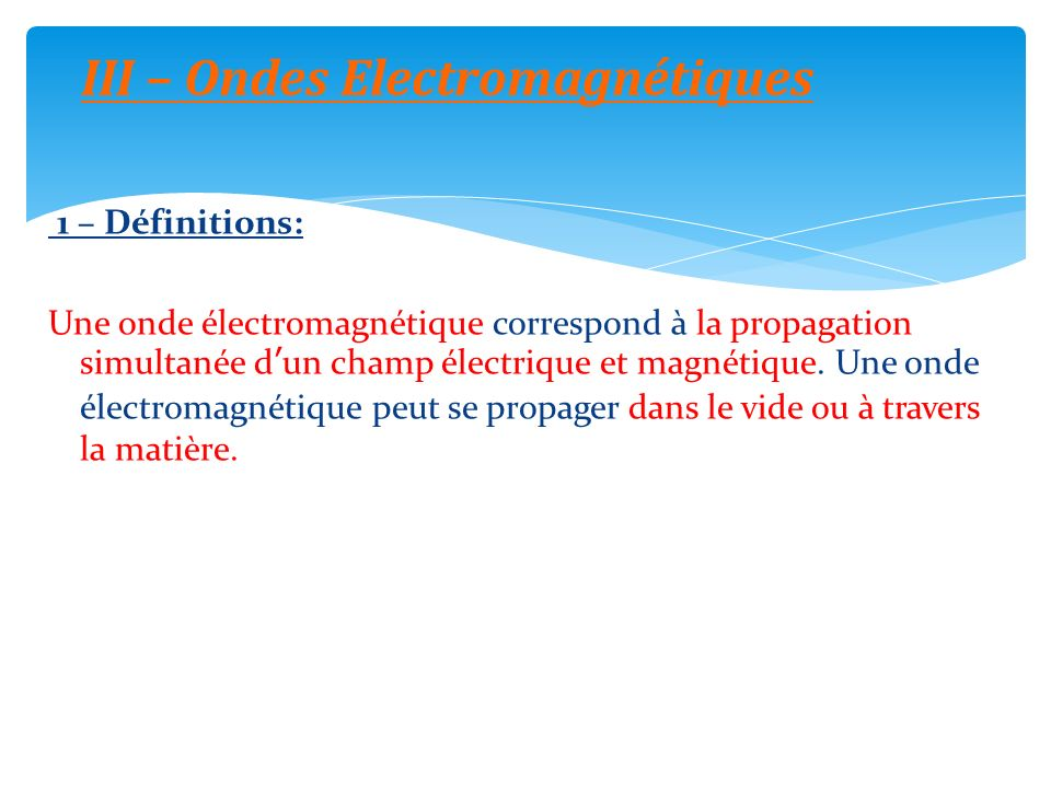 III – Ondes Electromagnétiques